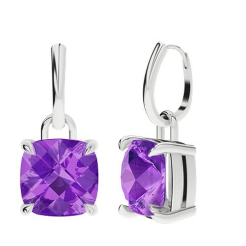 Amethyst Silver Checkerboard Drop Earrings