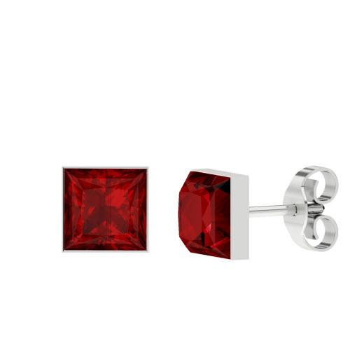 Princess Cut Ruby Silver Stud Earrings