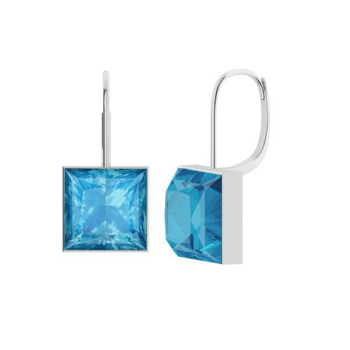 StyleRocks Blue Topaz Sterling Silver Checkerboard Drop Earrings jrjluHv6