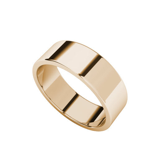 Wedding Ring with Flat Profile 9ct Rose Gold