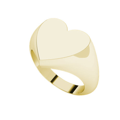 Heart Signet Ring 9ct Yellow Gold