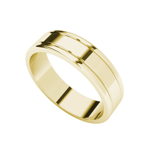 Grooved Wedding Ring 9ct Yellow Gold