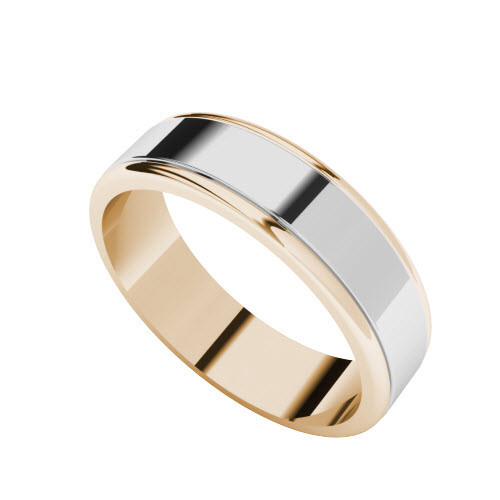 Two-Tone Wedding Ring - 9ct White Gold with Rose Gold