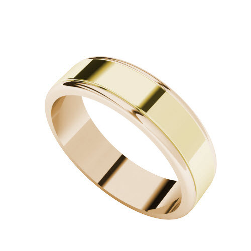 Two-Tone Wedding Ring - 9ct Yellow Gold with Rose Gold