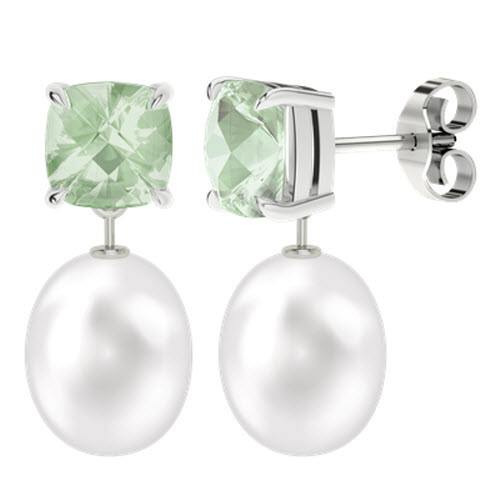 Green Amethyst Cushion Checkerboard Studs With Drop Pearl - 18ct White Gold