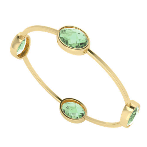Green amethyst gemstone bangle in 9 carat yellow gold