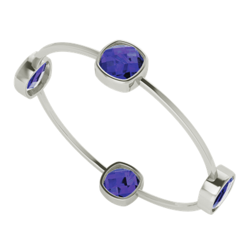 Four Stone Cushion Blue Sapphire Silver Bangle