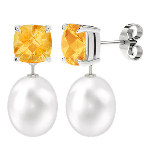 Citrine Cushion Checkerboard Studs with Drop Pearl - 9ct White Gold