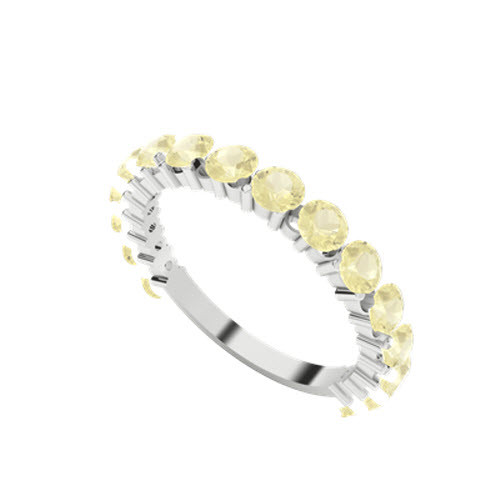 Brilliant Cut Yellow Sapphire 9ct White Gold Wedding Ring