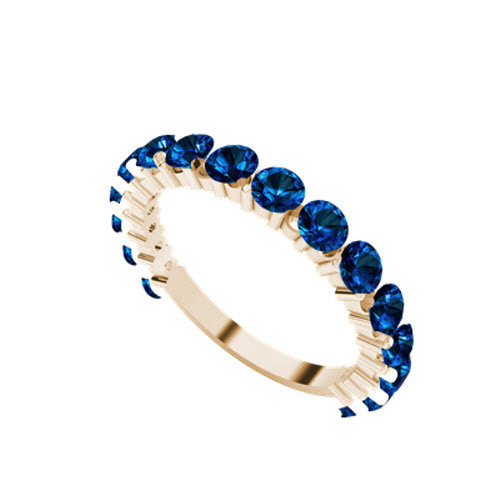 Brilliant Cut Blue Sapphire 9ct Rose Gold Wedding Ring