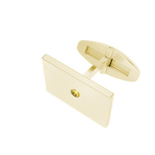 Rectangular 9ct Yellow Gold  Cufflinks with Citrine Birthstone