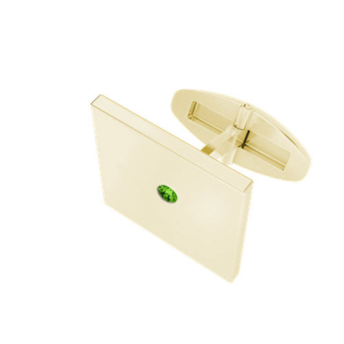 Square Cufflinks 9ct Yellow Gold with  Peridot Birthstone