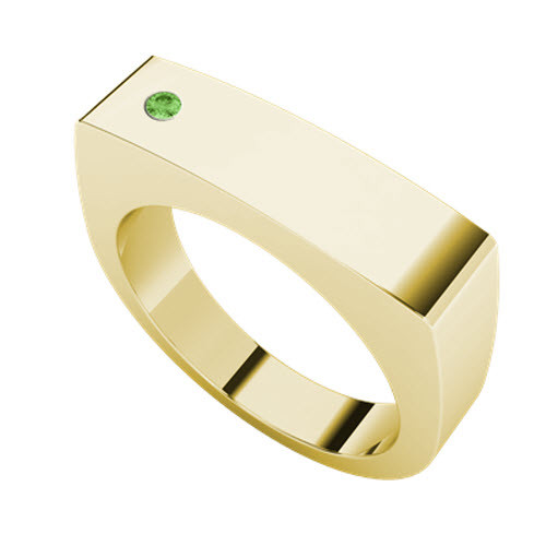 Signet Yellow Goldplate Ring Rectangular - Peridot