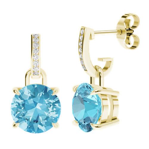 Round Brilliant Cut Topaz Diamond Drop Earrings 9ct Yellow Gold