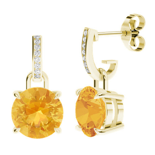 Round Brilliant Cut Citrine Diamond Drop Earrings 9ct Yellow Gold