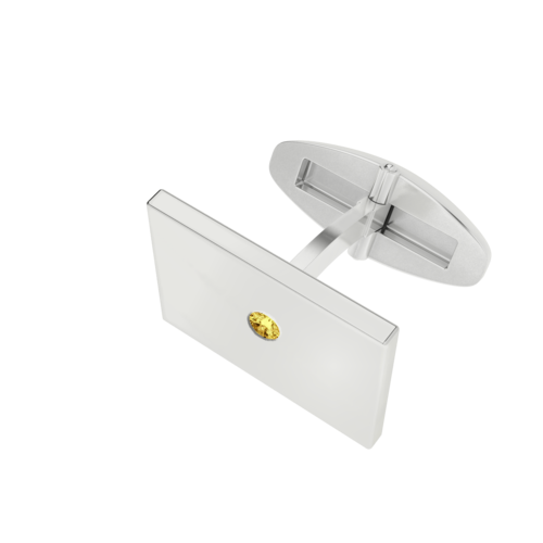 Men's SIlver Rectangular Cufflinks with Citrine Birthstone