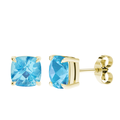 Cushion Checkerboard Blue Topaz Stud Earrings 9ct Yellow Gold