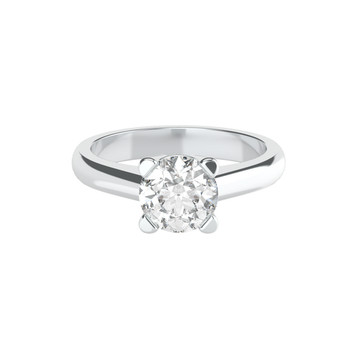 Brilliant Cut 4 Square Clawed 14ct White Gold Solitaire Engagement Ring - 'Dominica'