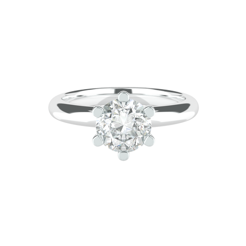 Brilliant Cut 6 Clawed Solitaire 14ct White Gold Engagement Ring - 'Rio'