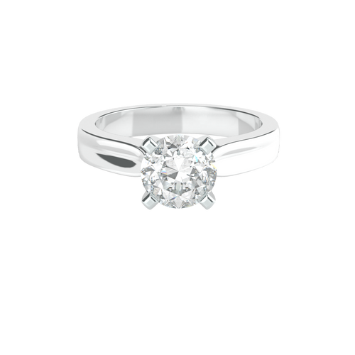 Brilliant Cut 4 Square Clawed 14ct White Gold Solitaire Engagement Ring - 'Amalfi'