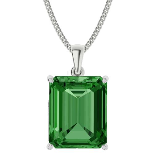 Emerald Gemstone Sterling Silver Necklace