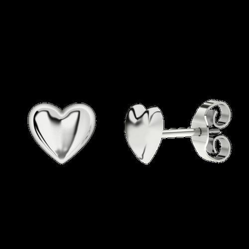 Heart Stud Silver Earrings