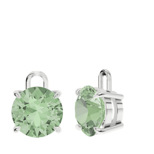 Green Amethyst Sterling Silver Round Brilliant Earrings - Drops Only