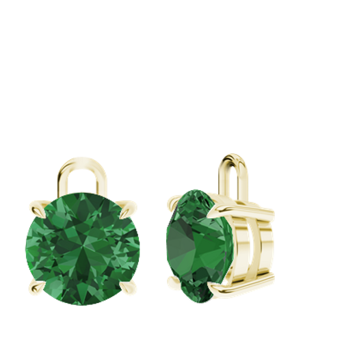 Emerald 9ct Yellow Gold Round Brilliant Earrings - Drops Only