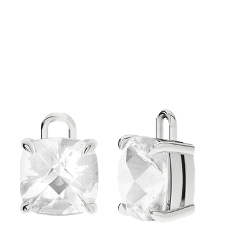 White Quartz Sterling Silver Checkerboard Earrings - Drops Only