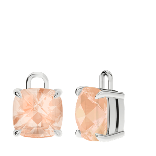 Morganite Sterling Silver Checkerboard Earrings - Drops Only