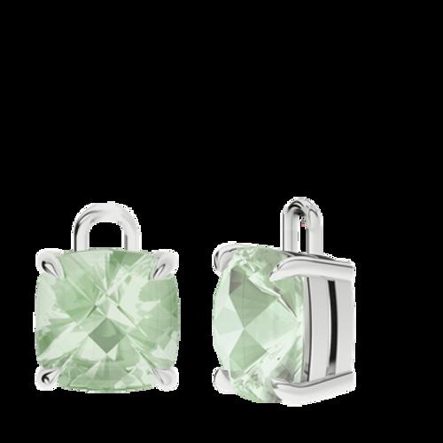 Green Amethyst Sterling Silver Checkerboard Earrings - Drops Only