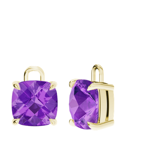 Amethyst 9ct Yellow Gold Checkerboard Earrings - Drops Only