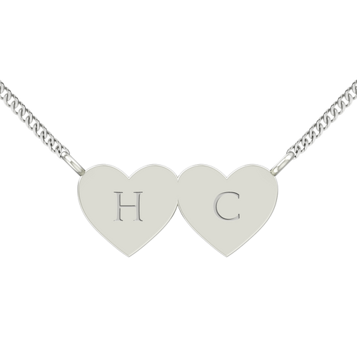 Two Joined Hearts Necklace - Sterling Silver