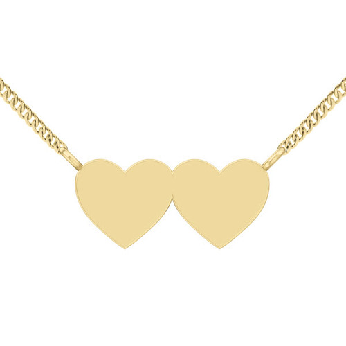 Two Joined Hearts Necklace - 9ct Yellow Gold