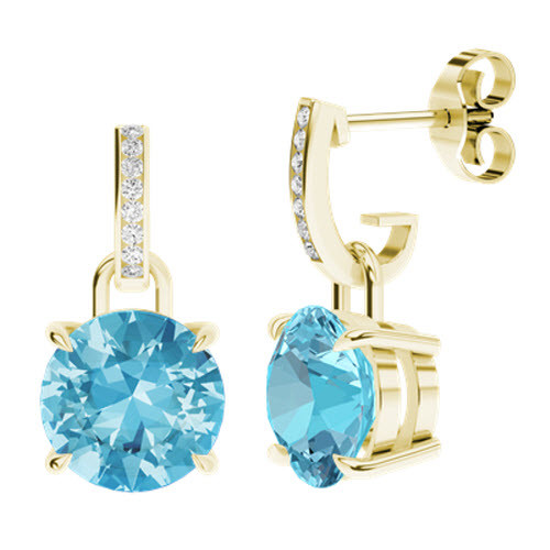 StyleRocks Blue Topaz 9kt Yellow Gold Drop Earrings cOk7pD
