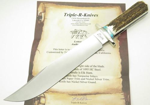 CUSTOM LEROY REMER MARBLES TRAILMAKER COFFIN ELK STAG BOWIE KNIFE ~R4 PROTOTYPE~
