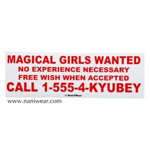 Madoka Magica Inspired Bumper Sticker: Magical Girls Wanted