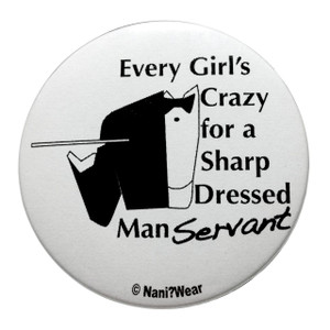 Black Butler Inspired Button: Crazy for Sharp Dressed Manservant
