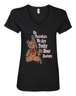 Supernatural Women's V-Neck Fitted T-Shirt On Thursdays We're Teddy Bear Doctors