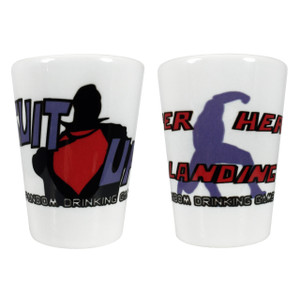 Superhero Fandom Drinking Game Shot Glasses Suit Up/Super Hero Landing