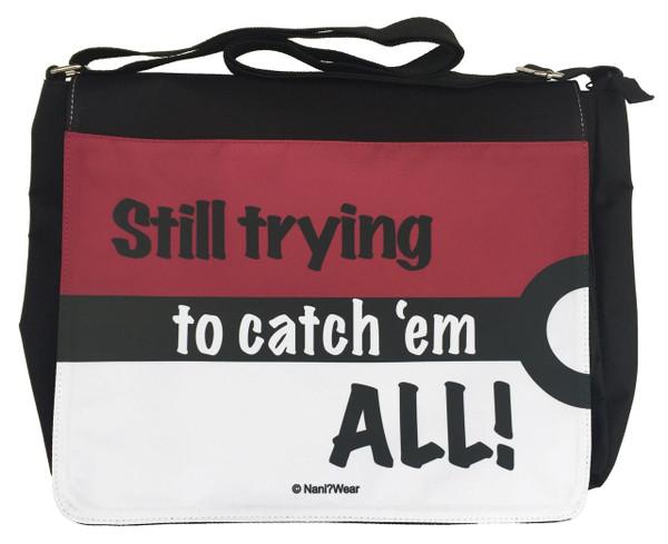 Pocket Monster Inspired Large Messenger/Laptop Bag: Still Trying Catch 'Em All