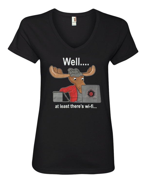 Supernatural Women's V-Neck Fitted T-Shirt Sam Winchester Moose At Least There's WiFi