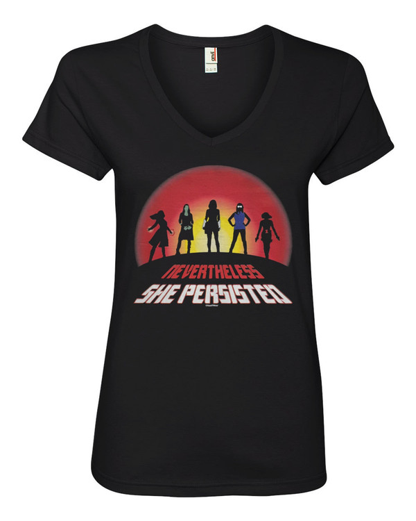 Marvel Super-Heroines Women's V-Neck Fitted T-Shirt Nevertheless She Persisted