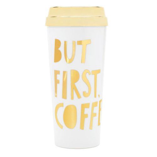 Deluxe Hot Stuff Thermal Mug - But First Coffee - Metallic Gold