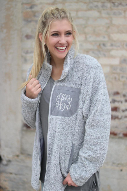 Monogrammed Sherpa Fleece Jacket  | Gray