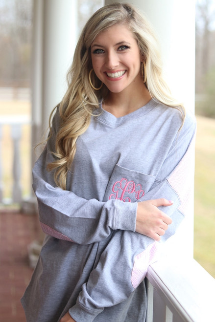 Ginny Marie's Monogrammed Spirit Tee | Lasting Love | Heathered Gray with Pink Seersucker