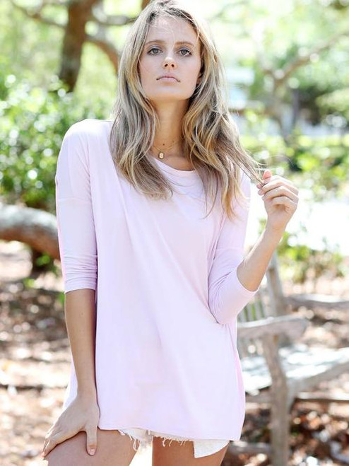 Night & Day | 3/4 Sleeve Scoop Neck Piko | Lilac