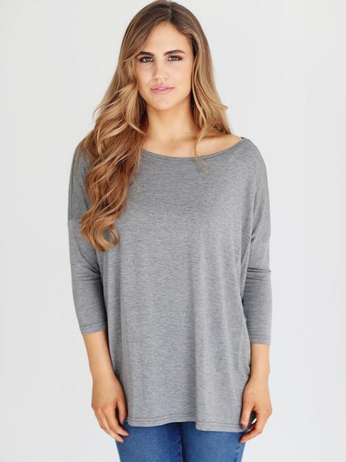 Night & Day | 3/4 Sleeve Scoop Neck Piko | Heather Gray