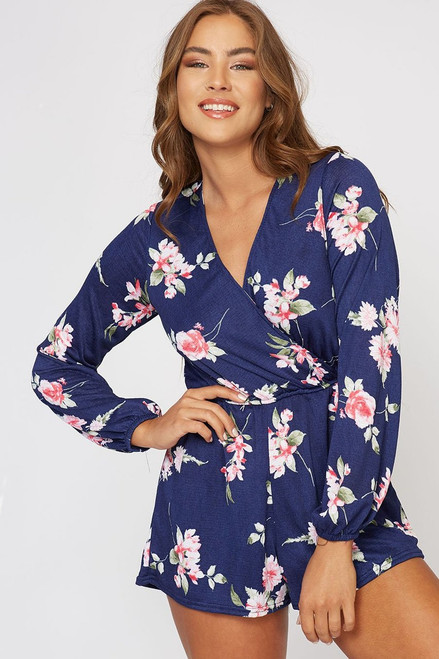 The Traci | Navy Floral Romper