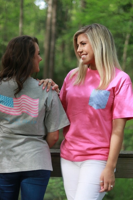 Ginny Marie Pocket Tee | Hot Pink & Gingham